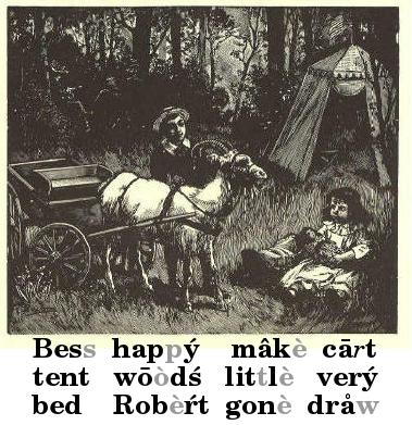 Boy and girl with goat-cart in woods; tent in background