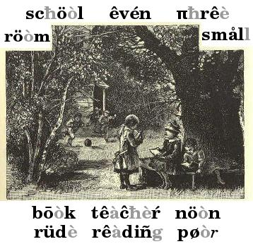 Several children in woods. Three are holding books others are playing with a ball