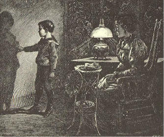 Mother, seated in rocking chair, kerosene lamp on table, boy standing, examining his shadow on the wall.