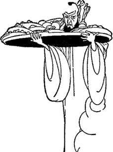 The genie disappeared, but returned in an instance with twelve silver dishes.